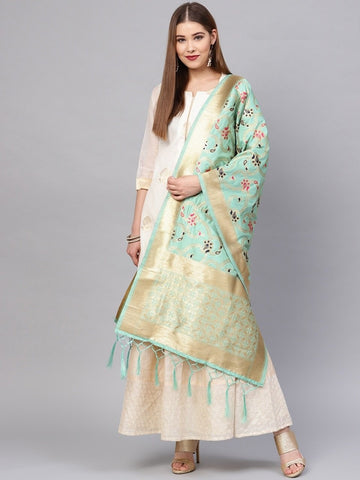 Sea Green Color Banarasi Silk Women's Dupatta - 77818