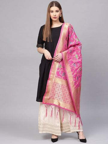 Rani Pink Color Banarasi Silk Women's Dupatta - 77822