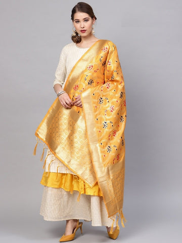 Yellow Color Banarasi Silk Women's Dupatta - 77823