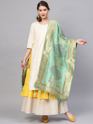 Sea Green Color Banarasi Silk Women's Dupatta - 77824