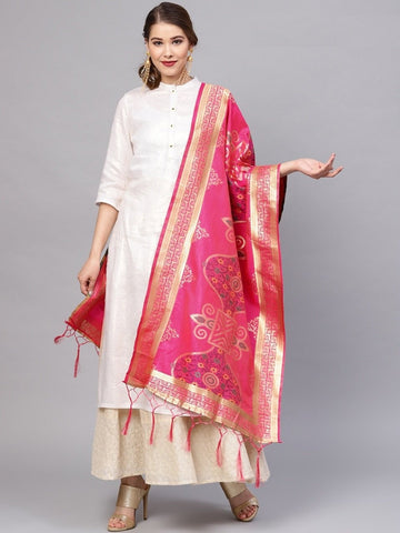 Rani Pink Color Banarasi Silk Women's Dupatta - 77828