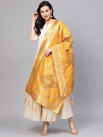 Yellow Color Banarasi Silk Women's Dupatta - 77829