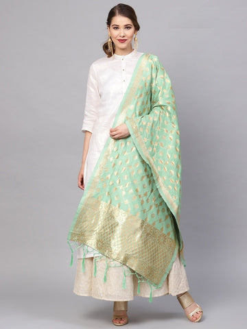 Sea Green Color Banarasi Silk Women's Dupatta - 77831