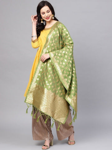 Green Color Banarasi Silk Women's Dupatta - 77834