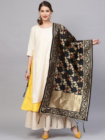 Black Color Banarasi Silk Women's Dupatta - 77836