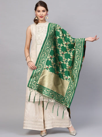 Green Color Banarasi Silk Women's Dupatta - 77837