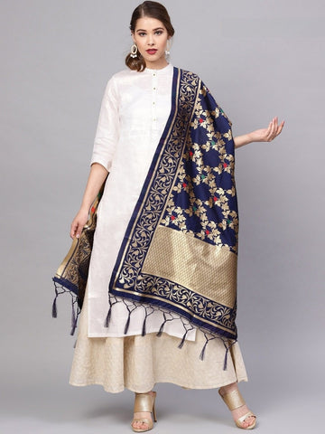 Navy Blue Color Banarasi Silk Women's Dupatta - 77839