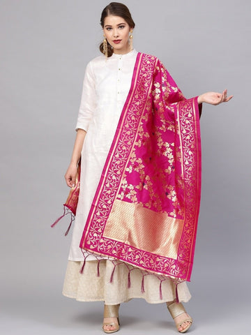 Rani Pink Color Banarasi Silk Women's Dupatta - 77841