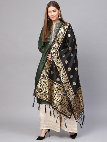 Black Color Banarasi Silk Women's Dupatta - 77842