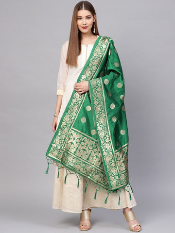Green Color Banarasi Silk Women's Dupatta - 77843
