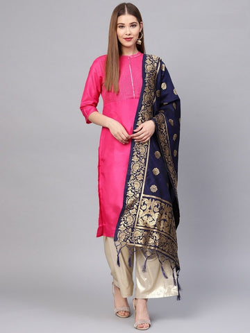 Navy Blue Color Banarasi Silk Women's Dupatta - 77844