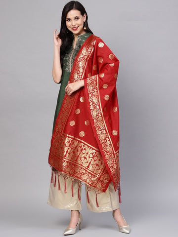 Red Color Banarasi Silk Women's Dupatta - 77846