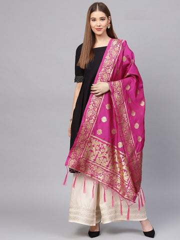Rani Pink Color Banarasi Silk Women's Dupatta - 77847