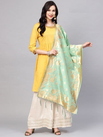Sea Green Color Banarasi Silk Women's Dupatta - 77849