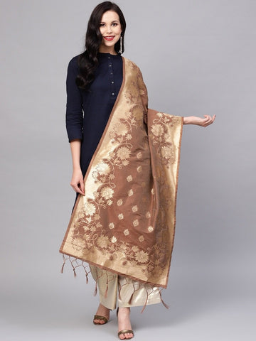 Coffee Color Banarasi Silk Women's Dupatta - 77850