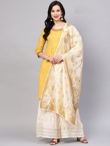 Cream Color Banarasi Silk Women's Dupatta - 77851