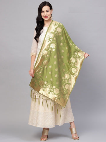 Green Color Banarasi Silk Women's Dupatta - 77852