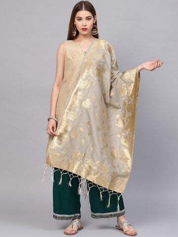 Grey Color Banarasi Silk Women's Dupatta - 77853