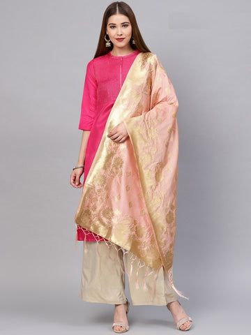 Peach Color Banarasi Silk Women's Dupatta - 77854