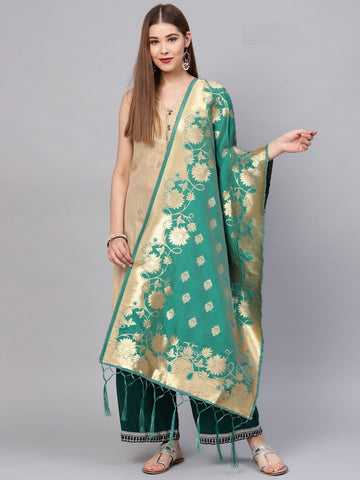 Rama Green Color Banarasi Silk Women's Dupatta - 77855