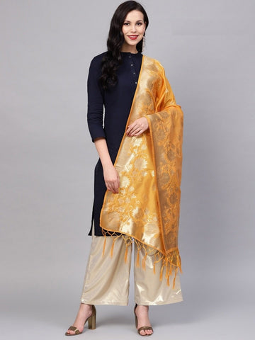 Yellow Color Banarasi Silk Women's Dupatta - 77856