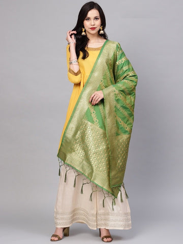 Green Color Banarasi Silk Women's Dupatta - 77857