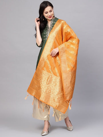 Orange Color Banarasi Silk Women's Dupatta - 77858