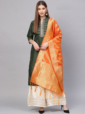 Orange Color Banarasi Silk Women's Dupatta - 77859