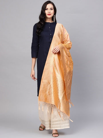 Peach Color Banarasi Silk Women's Dupatta - 77860