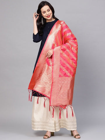 Rani Pink Color Banarasi Silk Women's Dupatta - 77861