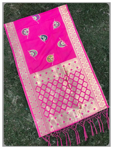 Rani Pink Color Banarasi Silk Women's Dupatta - 77867