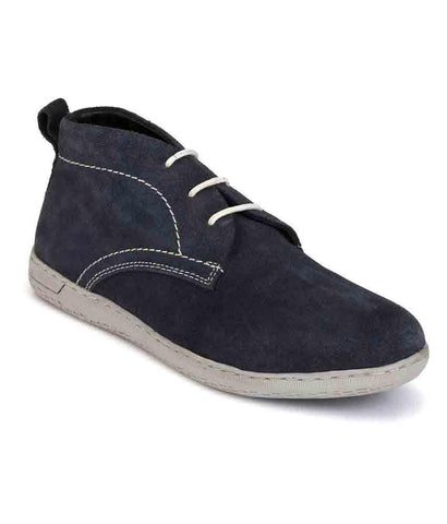 Blue Color Suede Leather Men's Casual Shoes - 7794_Blue