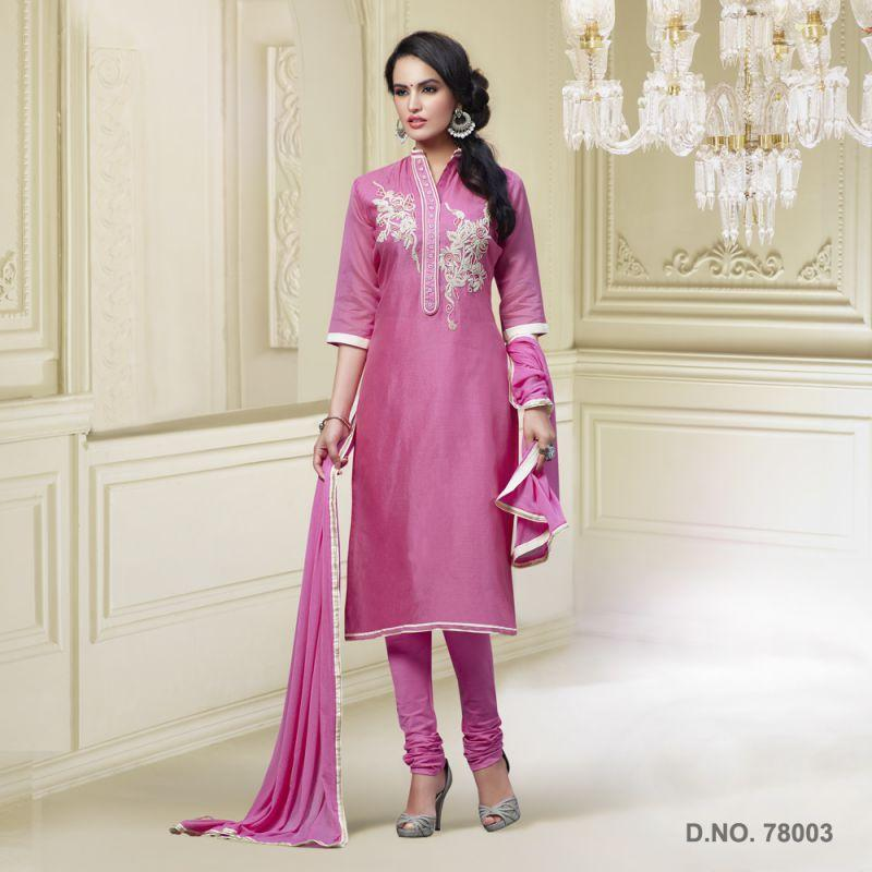 Pink Color Chanderi Silk Salwars