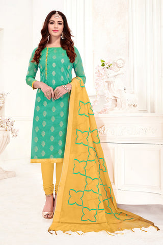 Light Green Color Banarasi Jacquard Women's Un-Stitched Salwar Suit - 78243