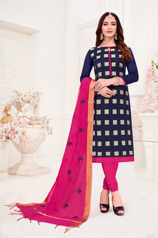 Navy Blue Color Banarasi Jacquard Women's Un-Stitched Salwar Suit - 78244