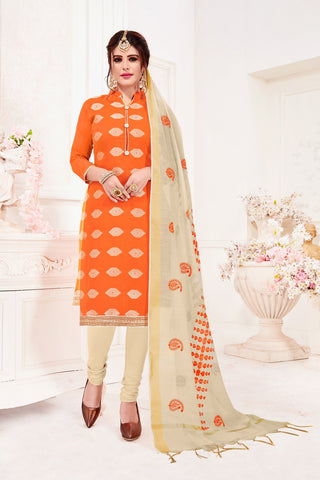Orange Color Banarasi Jacquard Women's Un-Stitched Salwar Suit - 78246