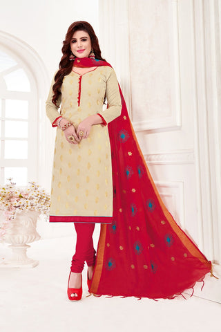 Cream Color Banarasi Jacquard Women's Un-Stitched Salwar Suit - 78249
