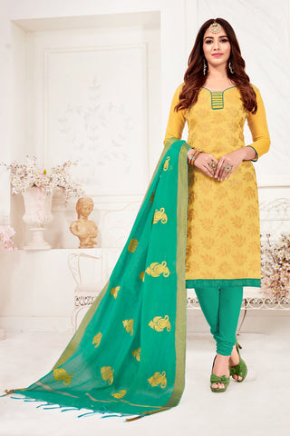 Yellow Color Banarasi Jacquard Women's Un-Stitched Salwar Suit - 78250