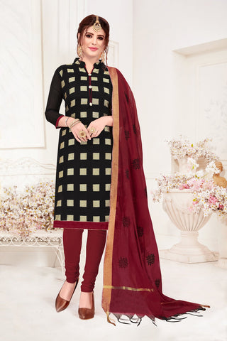 Black Color Banarasi Jacquard Women's Un-Stitched Salwar Suit - 78251
