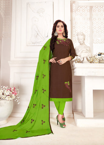Brown Color Glass Cotton Women's Un-Stitched Salwar Suit - 78252