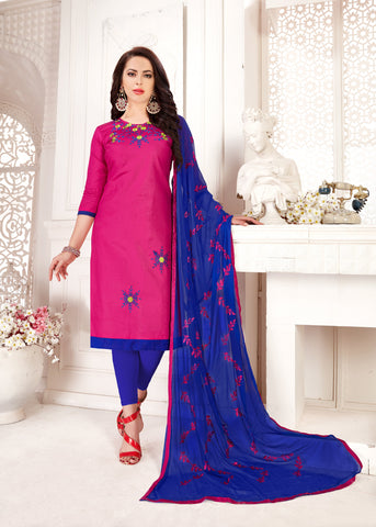 Pink Color Glass Cotton Women's Un-Stitched Salwar Suit - 78256
