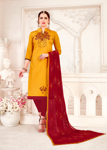 Yellow Color Glass Cotton Women's Un-Stitched Salwar Suit - 78262