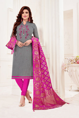 Grey Color Cotton Flex Women's Un-Stitched Salwar Suit - 78263
