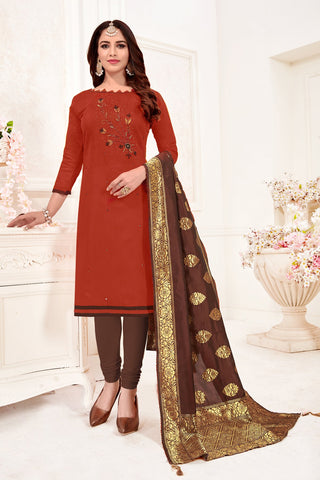 Maroon Color Cotton Flex Women's Un-Stitched Salwar Suit - 78264