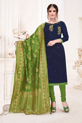 Navy Blue Color Cotton Flex Women's Un-Stitched Salwar Suit - 78265