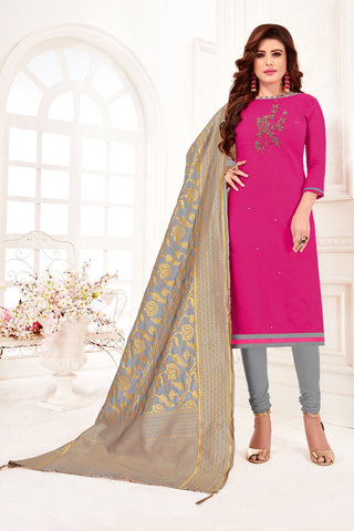 Pink Color Cotton Flex Women's Un-Stitched Salwar Suit - 78266