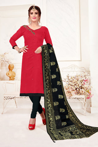 Red Color Cotton Flex Women's Un-Stitched Salwar Suit - 78267