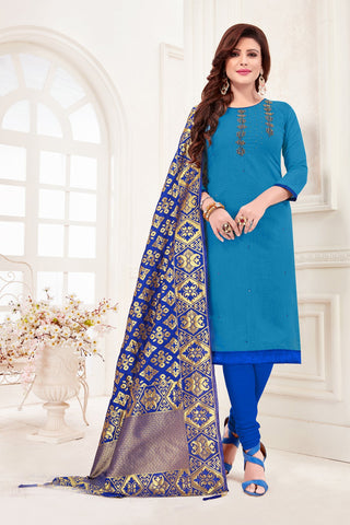 Sky Blue Color Cotton Flex Women's Un-Stitched Salwar Suit - 78268
