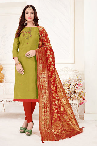 Mehendi Color Cotton Flex Women's Un-Stitched Salwar Suit - 78269
