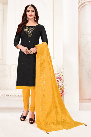 Black Color Cotton Flex Women's Un-Stitched Salwar Suit - 78270